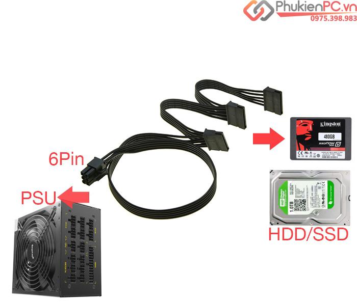 Dây nguồn Modular 6Pin sang 3 SATA cấp nguồn HDD, SSD