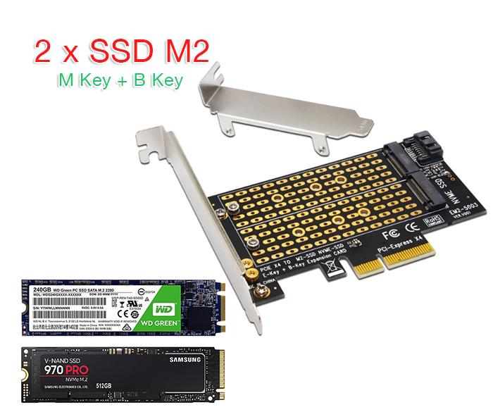 Card gắn SSD M2 NVMe, M2 SATA vào máy tính bàn, máy tính đồng bộ