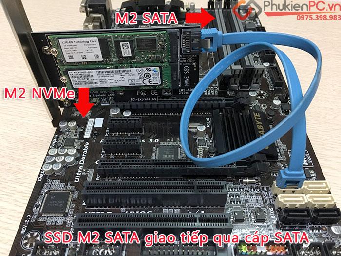 Riser Card chuyển đổi SSD M2 NVMe, M2 SATA to PCIE 4X cho PC, máy tính đồng bộ SSU EM-5003