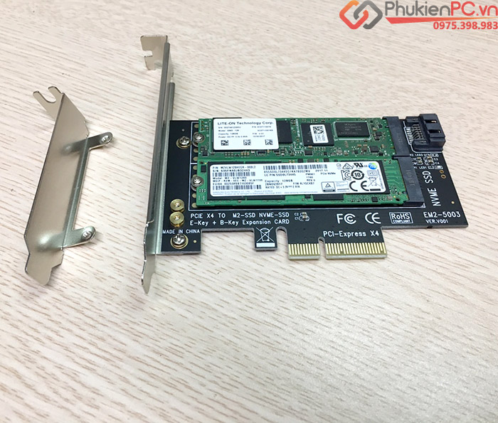 Riser Card chuyển đổi SSD M2 NVMe, M2 SATA to PCIE 4X cho PC, máy tính đồng bộ SSU EM2-5003