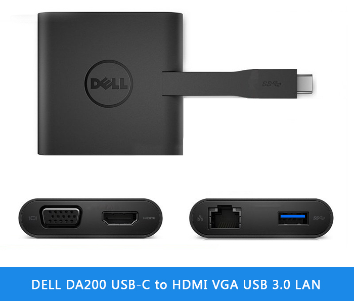 DELL DA200 USB-C to HDMI VGA USB 3.0 LAN 1000 (4 in 1)