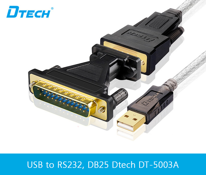 Cáp USB sang RS232 kèm đầu chuyển DB25 dài 1.8M Dtech DT-5003A