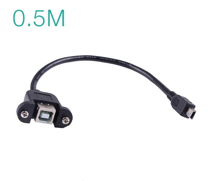 Cáp USB 2.0 Type B Female to Mini USB Male bắt vít 0.5M