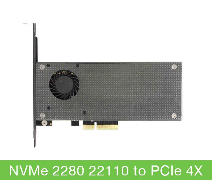 Card SSD M2 NVMe PCIe, M2 SATA 22110 2280 to PCI-E 4X có quạt tản nhiệt