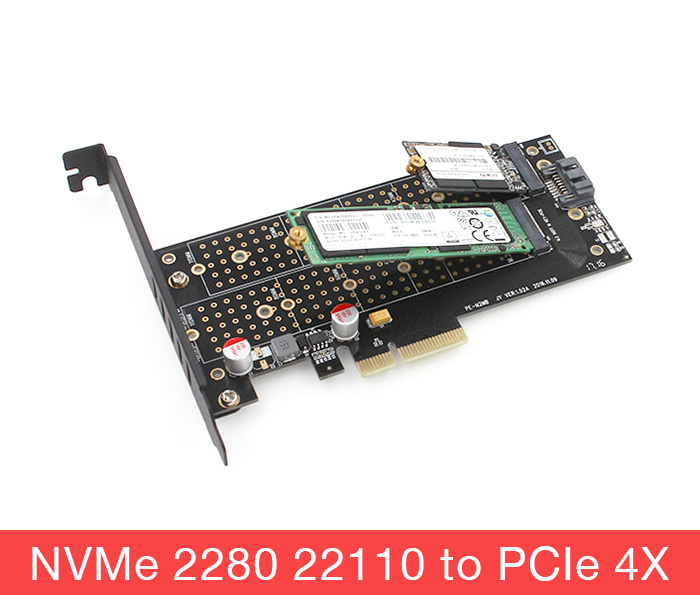 Card SSD M2 NVMe PCIe, M2 SATA 22110 2280 to PCI-E 4X