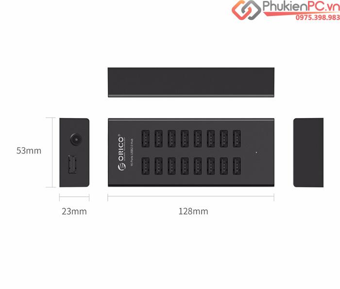 Bộ chia USB 2.0-16 cổng hỗ trợ nguồn ngoài 12V Orico H1613-U2
