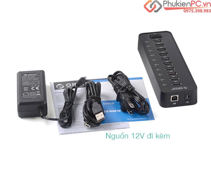 Bộ chia USB 2.0-10 cổng hỗ trợ nguồn ngoài 12V Orico P10-U2