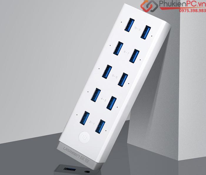 Bộ chia USB 3.0-10 cổng hỗ trợ nguồn ngoài 12V Ugreen 20297