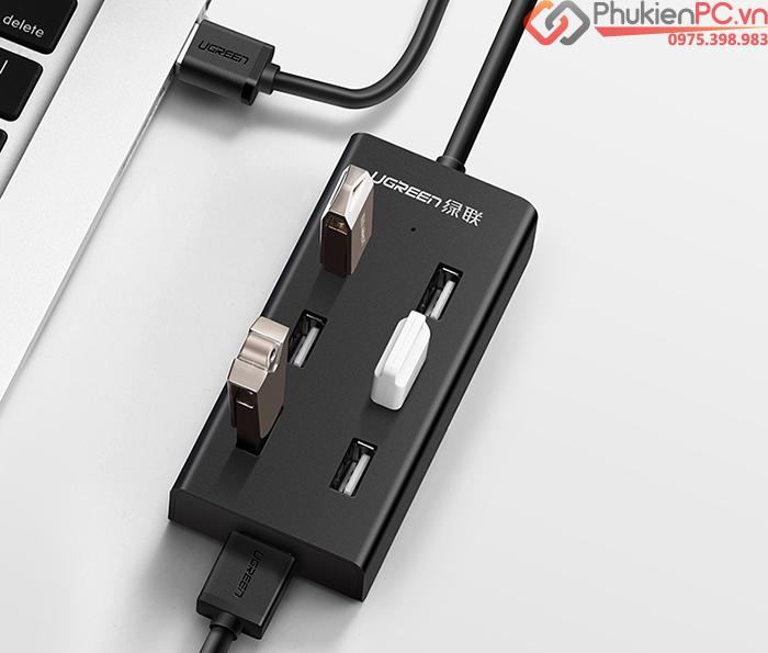 Bộ chia USB 2.0 7 cổng hỗ trợ nguồn ngoài Ugreen 30374