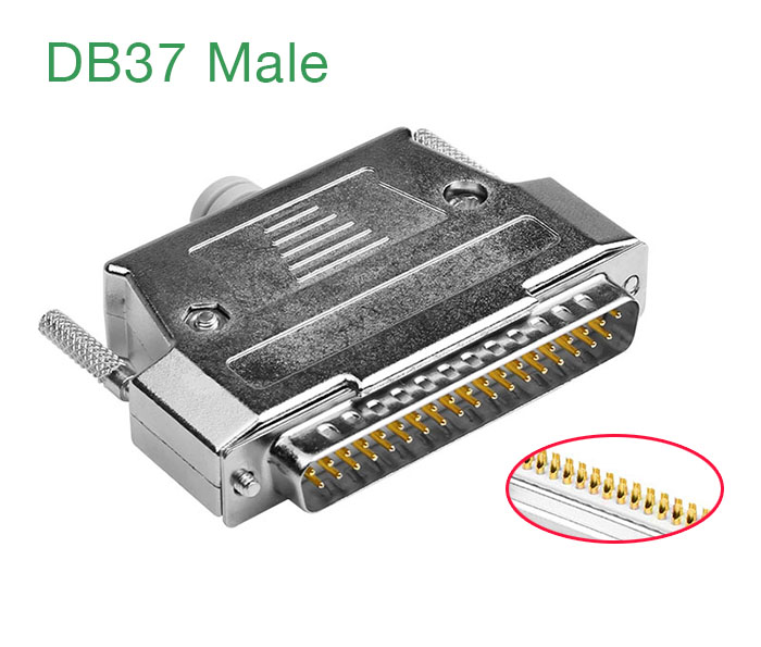 Đầu hàn DB37 Male (chân đực) mạ vàng kèm vỏ ốp kim loại