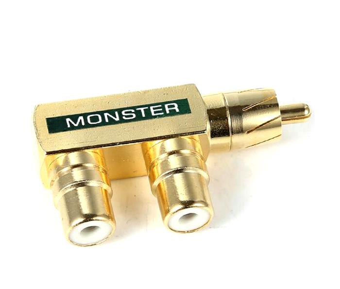 Giắc chia RCA 1 ra 2 Monster bẻ góc