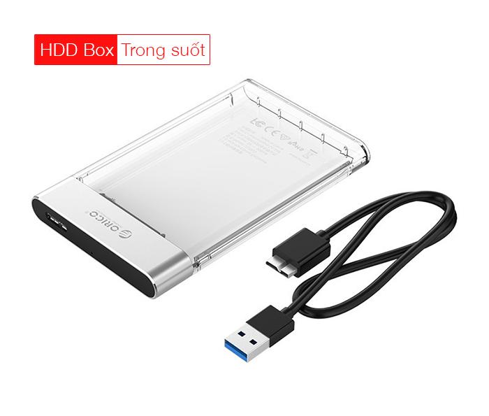 Box ổ cứng trong suốt HDD SSD chuẩn USB 3.0 thiết kế đẹp Orico 2129U3