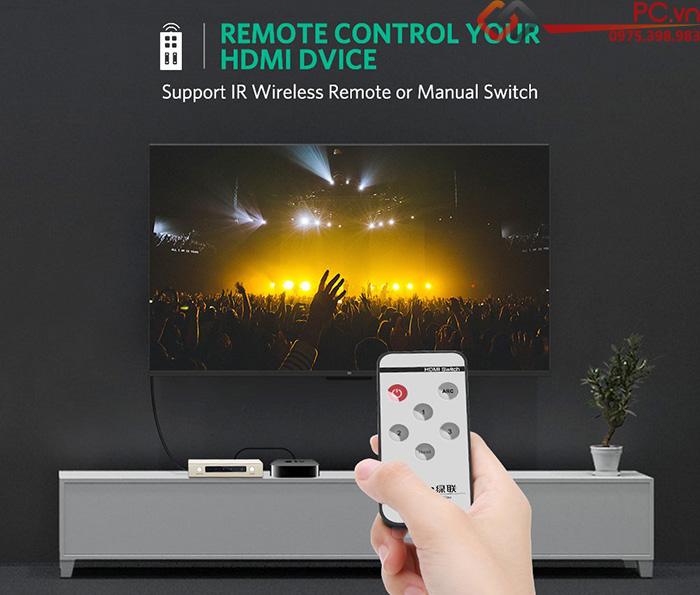 Bộ gộp HDMI 3 ra 1 đầu ra Optical SPDIF 3.5mm Ugreen 40369