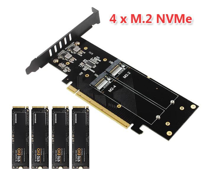 Card gắn 4 SSD M2 NVMe M Key to PCIe 16X Gen 3 hỗ trợ RAID