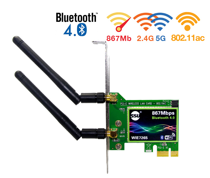 Card PCIe Wifi AC 867Mbps 2.4G/5G Bluetooth 4.0