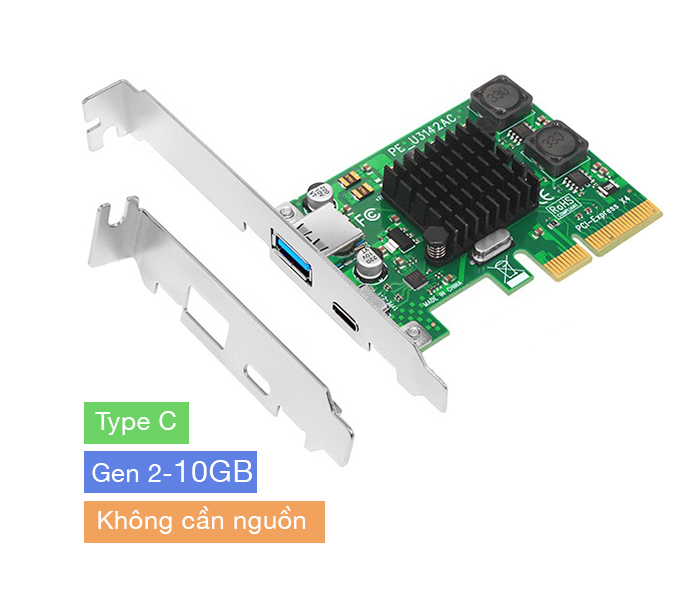 Card mở rộng PCIe 4X to USB 3.1, Type C Gen 2 10GB