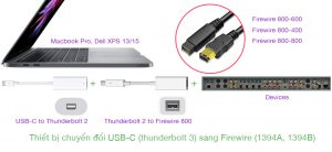Cáp chuyển đổi Thunderbolt 3 (USB-C) Macbook Pro sang Firewire 800, 600