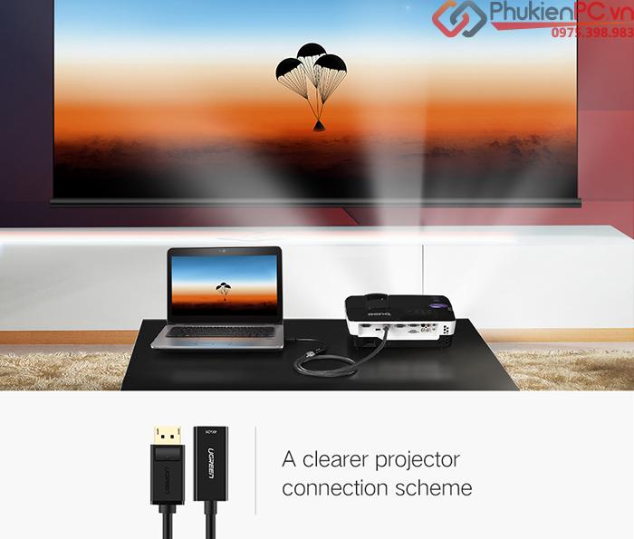 Adapter Displayport to HDMI 4K dài 20cm Ugreen 40363