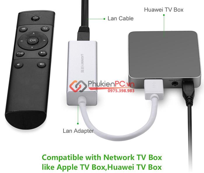 Cáp chuyển đổi USB 3.0 sang LAN 1000 Mbps Ugreen 20258 vỏ nhôm