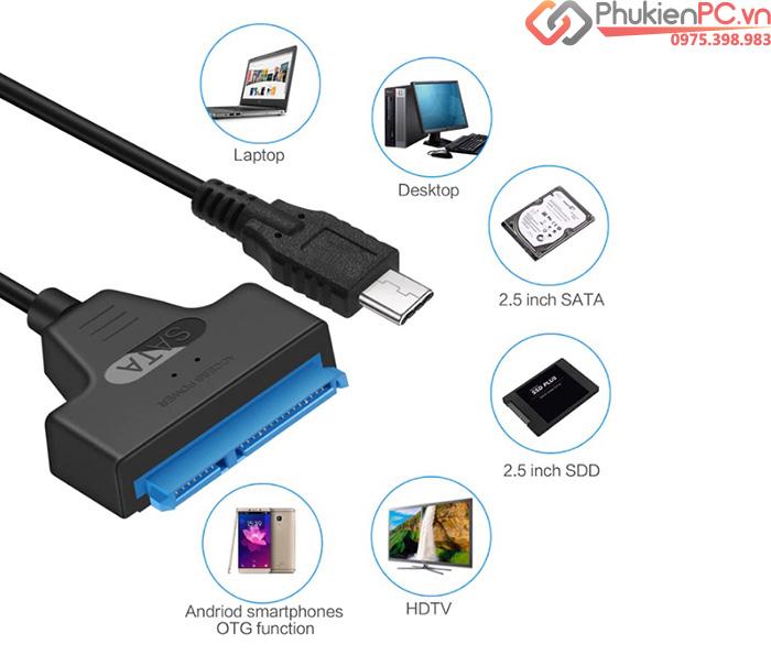 Cáp chuyển đổi USB-C sang HDD SSD SATA 2.5
