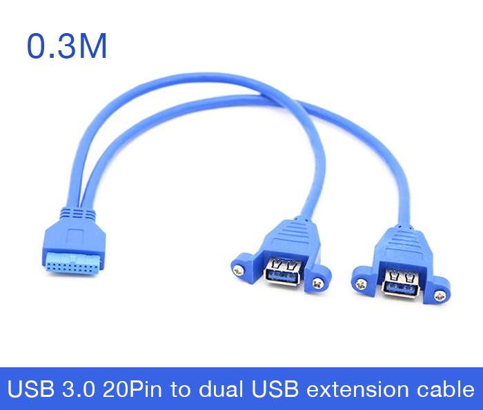 Cáp 20Pin Female to 2 USB 3.0 Female bắt vít 0.3M