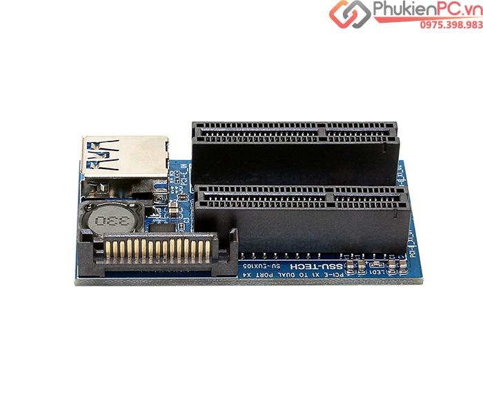 Thiết bị chia PCI-E 1X ra 2 PCI-E 4X 1X cho Card
