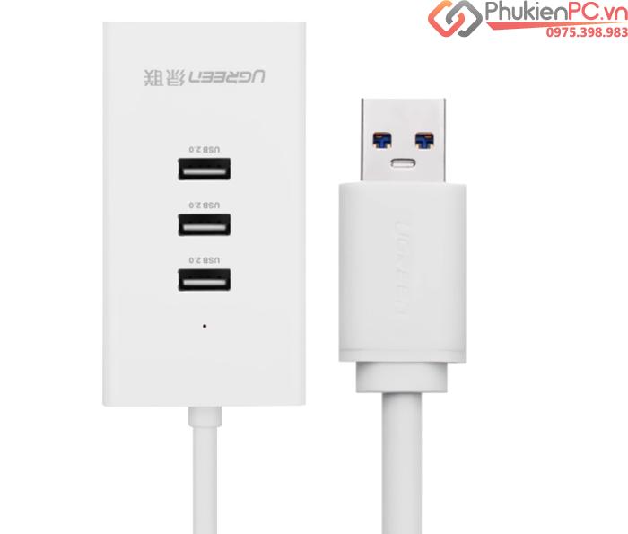 Bộ chia USB 1 ra 3 kèm cổng LAN Ethernet Ugreen 20259 hỗ trợ nguồn phụ