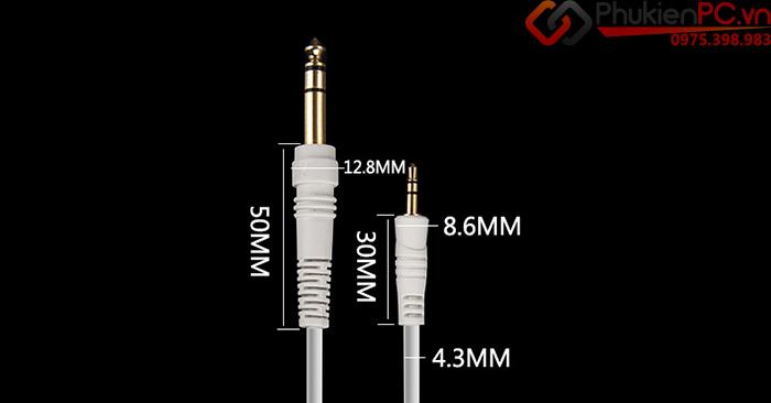 Cáp chuyển đổi âm thanh 6.35mm sang 3.5mm