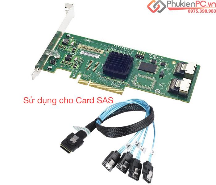 Cáp Mini SAS SFF-8087 to 4 SATA dài 50cm