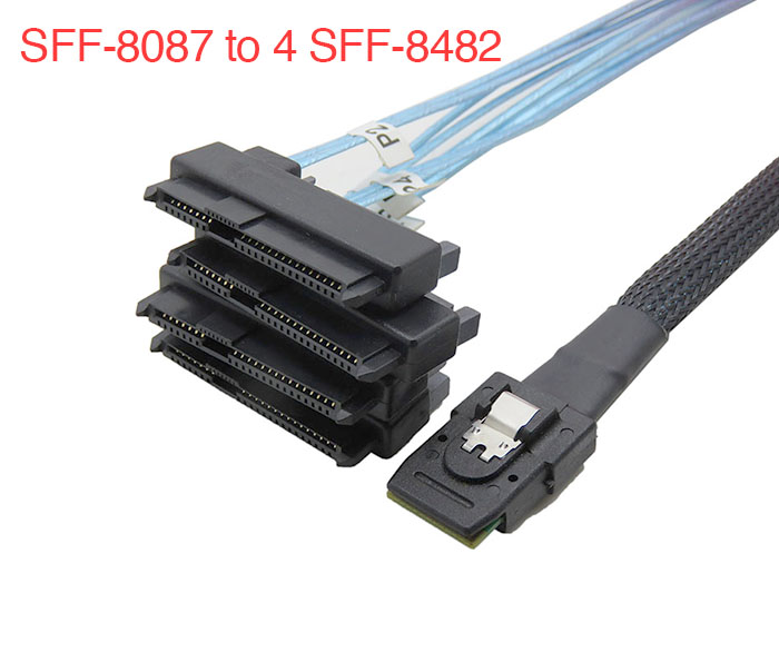 Cáp Mini SAS SFF-8087 to 4 SFF-8482 HDD SAS
