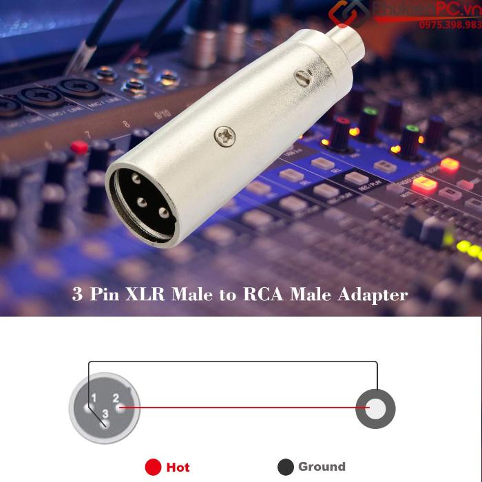 Đầu chuyển đổi Cannon XLR đực sang AV RCA cái