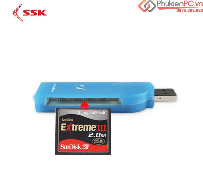 Đầu đọc thẻ nhớ CF USB 2.0 SSK SCRS028