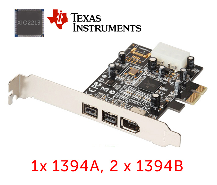 Card PCIe to 1394A, 2 cổng 1394B Firewire 800 Chip TI XIO2213