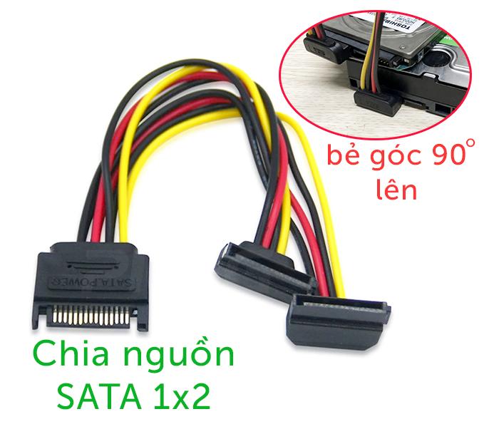 Cáp chia nguồn SATA ổ cứng 1 ra 2 bẻ góc 90 độ lên