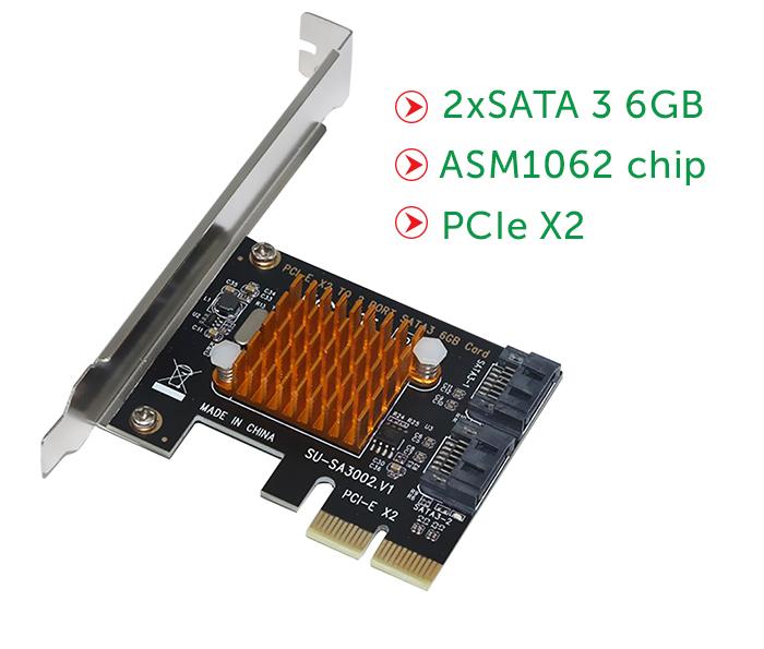 Card PCI-E x2 to 2 SATA III chip ASM1062 lắp thêm HDD SSD