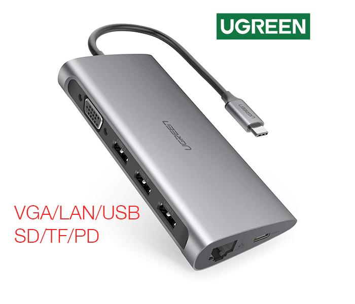 Cáp USB-C ra VGA LAN USB 3.0 đọc thẻ SD TF Ugreen 50539