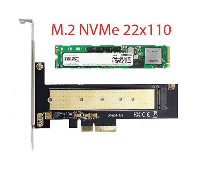 Card SSD M2 NVMe PCIe 22110 2280 to PCI-E 4X