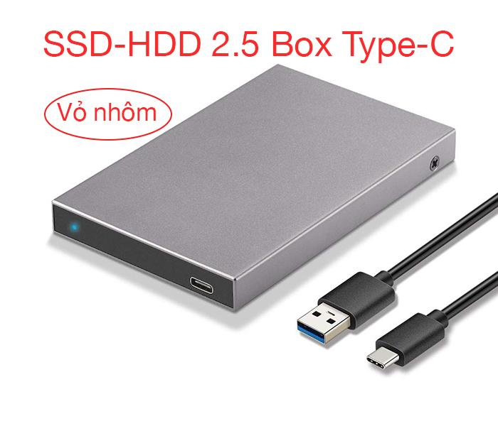 Box ổ cứng HDD SSD 2.5 SATA Type C vỏ nhôm thiết kế đẹp