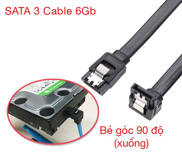 Dây cáp dữ liệu SATA 3 6GB cho ổ cứng HDD, SSD bẻ góc 90 độ xuống