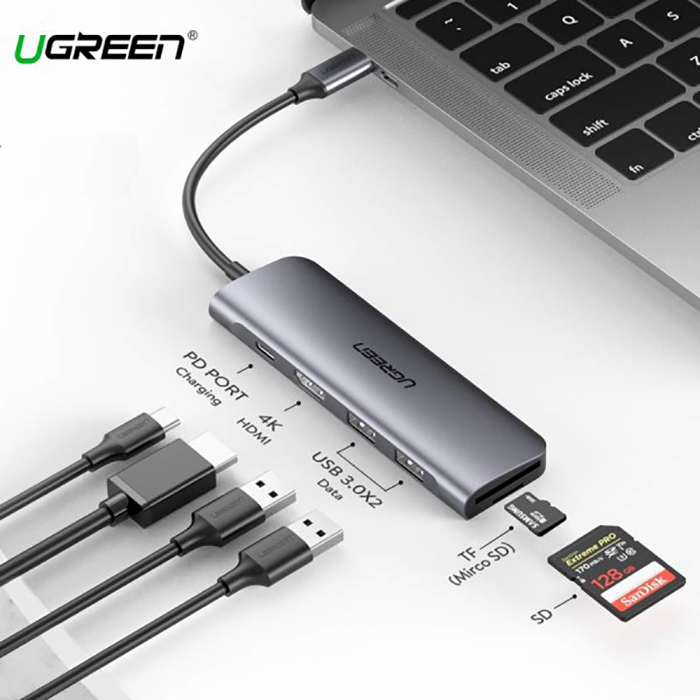 USB-C  6 in 1 to HDMI, USB 3.0, đọc thẻ SD TF Ugreen 70411