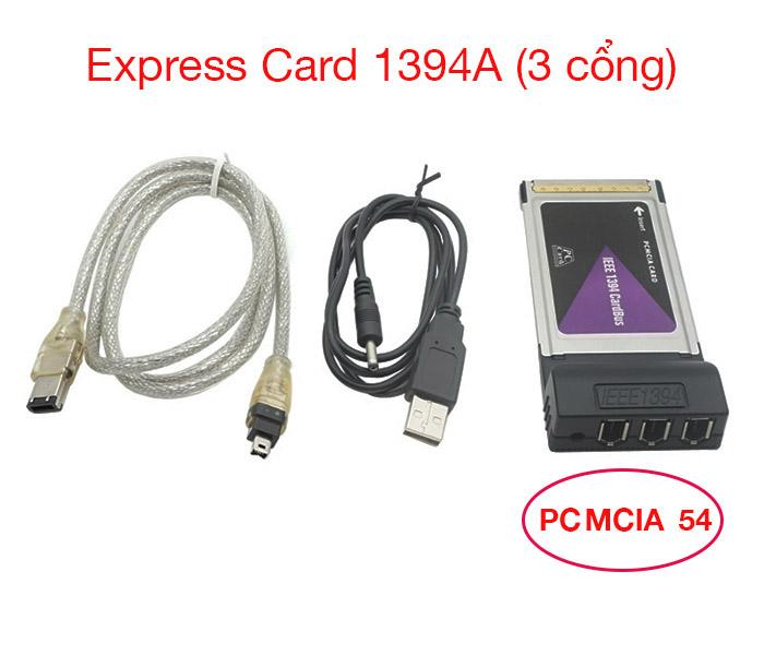 Express card mở rộng 3 cổng Firewire 1394A Laptop