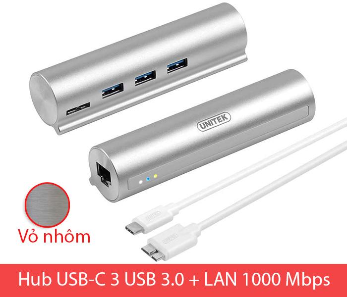 Bộ chia USB-C (Thunderbolt 3) ra 3 USB 3.0 LAN Gigabit vỏ nhôm