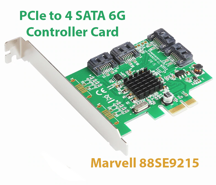 Card PCI-E to 4 SATA III 6G Chip Marvell 88SE9215