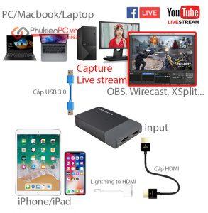 Thiết bị Live Stream iPhone IPad cho Laptop Macbook PC