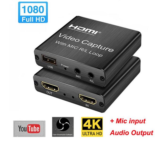 Box HDMI ghi hình, live stream video 4K USB 2.0 có mic