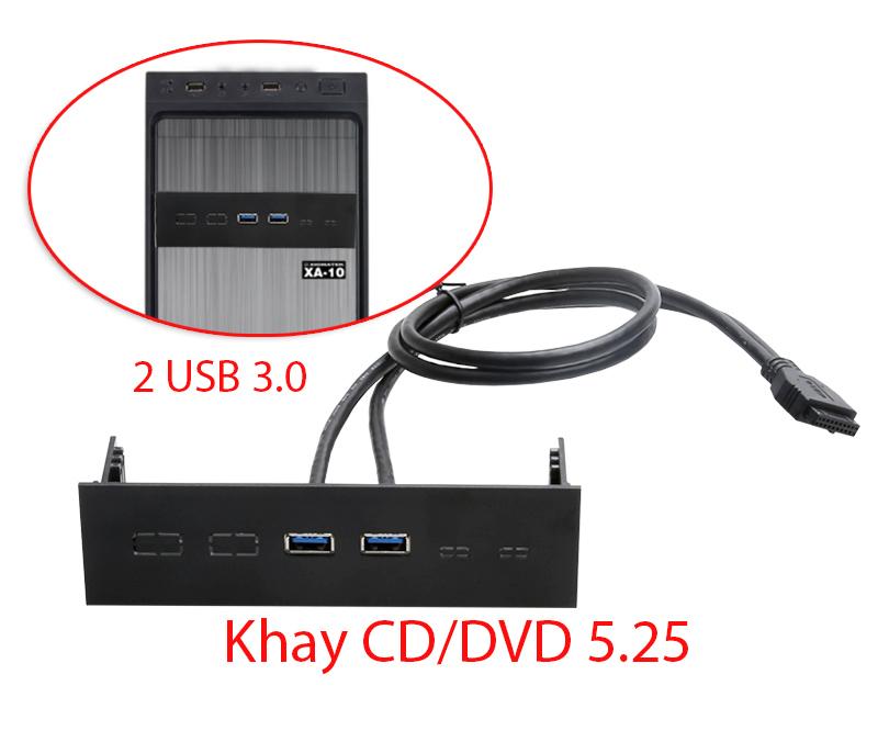 Cáp 20Pin ra 2 USB 3.0 gắn khay ổ đĩa DVD