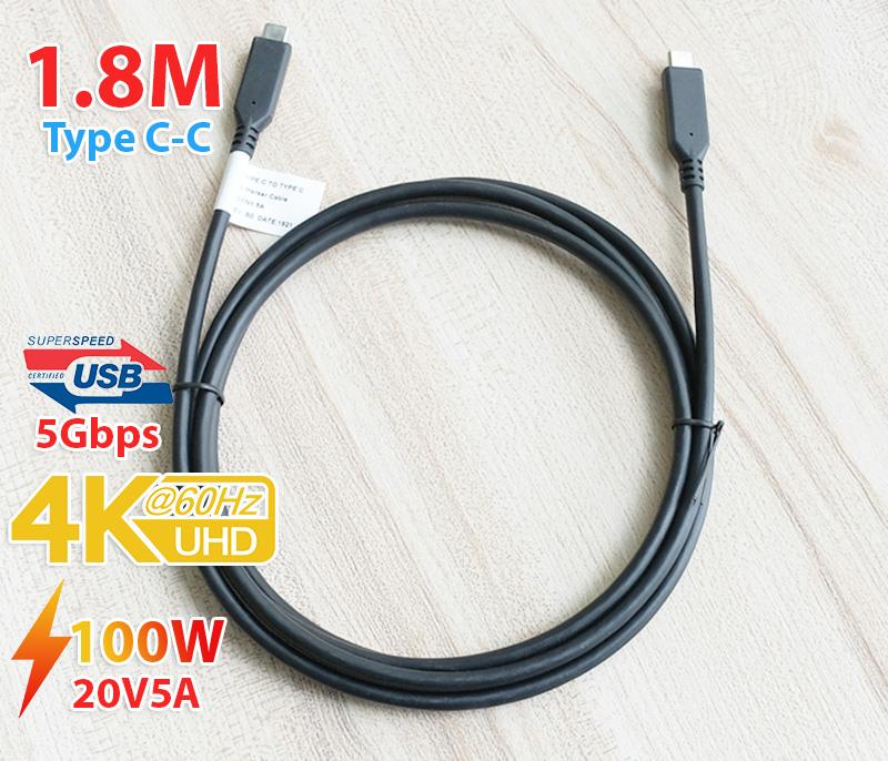 Cáp Type C hai đầu đực 4K60hz 100W 5A dài 1.8M