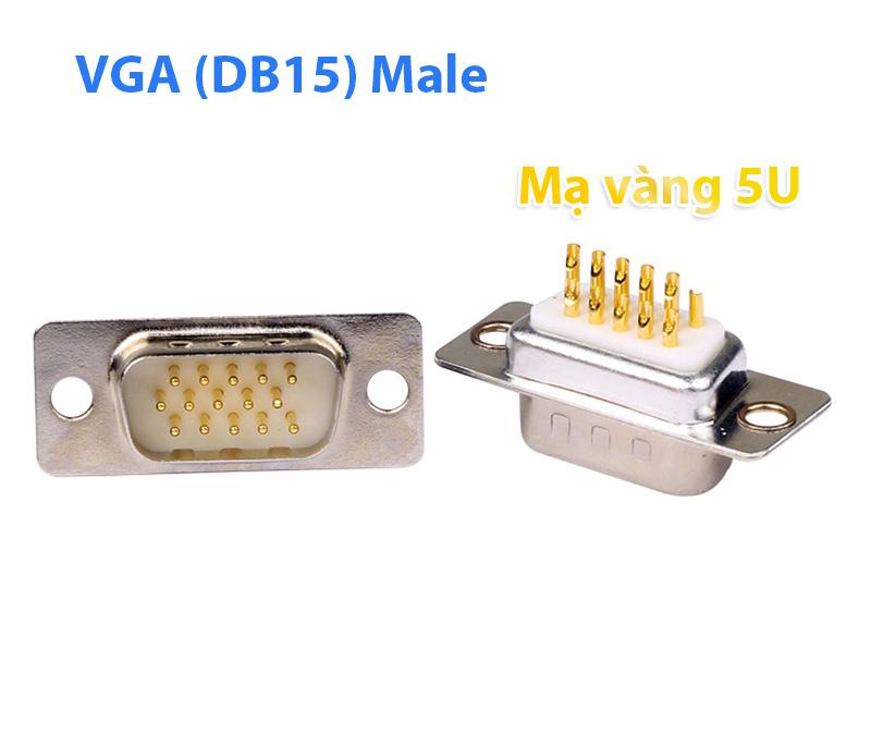 Đầu hàn cáp VGA DB15 (3 hàng) Male mạ vàng 5U cao cấp