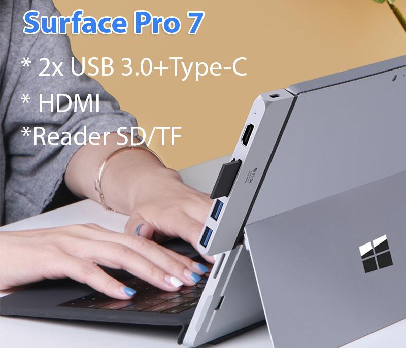 Hub chia 2 USB 3.0, đọc thẻ SD TF ,HDMI Surface Pro 7