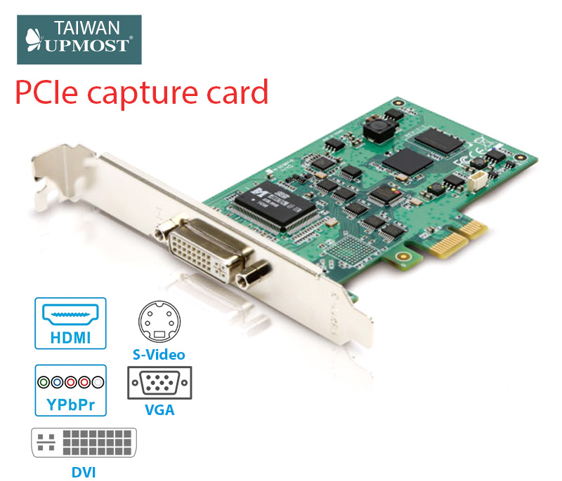 Card PCIe Capture HDMI VGA DVI S-Video RCA Component Upmost UPG705DVI